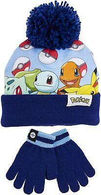 Pokemon Hat And Gloves Set For Kids With Pokeballs,Super Soft Warm Bobble Hat • 7.45£