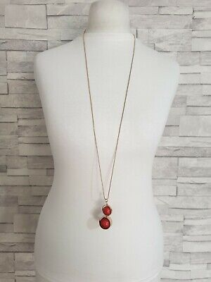 £7.90 • Buy Long Gold Tone Chain Necklace Red Spinning Stone Globe Pendant Costume Jewellery