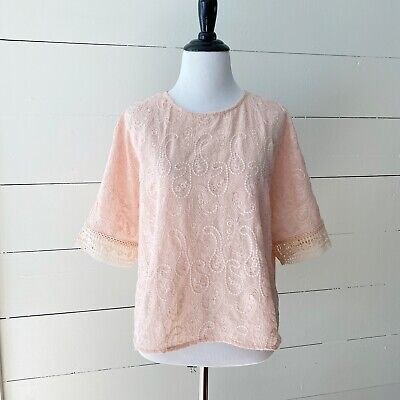 $ CDN29.48 • Buy English Factory Anthropologie Size Medium Embroidered Lace Blush Blouse Top M