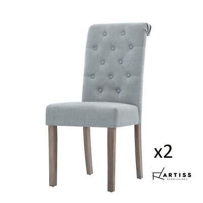 AU127.50 • Buy RETURNs Artiss 2x Dining Chairs French Provincial Fabric High Roll Back Wood Lig