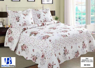 £28.95 • Buy 3 Piece Quilted Patchwork Modern Bedspread Vintage Throw Fit Double & King Size
