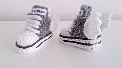 EARLY BABY CROCHET  SHOES BOOTS BOOTIES KNITTING FIRST SHOES Clothes • 4.89£