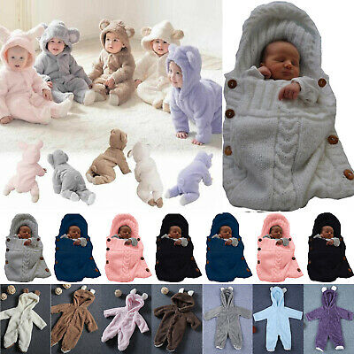 Infant Baby Boys Girls Romper Hooded Bear Jumpsuit Bodysuit Clothes Outfits Warm • 7.99£