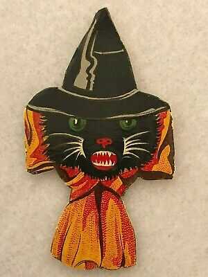 $ CDN28.16 • Buy Early German Lithographed Black Cat Witch Die Cut Vintage Halloween