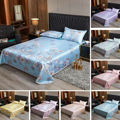 AU27.49 • Buy Satin Silk Bedding Set Duvet Cover Fitted Sheet Pillowcase Home Decor Cooling