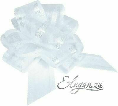 White Organza 50mm LARGE PULL BOW - Wedding Car Gift Wrap Party Floristry Bow  • 2.29£