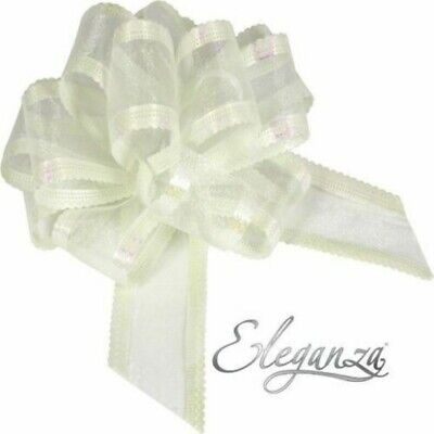 Ivory Organza 50mm LARGE PULL BOW - Wedding Car Gift Wrap Party Floristry Bow  • 2.29£