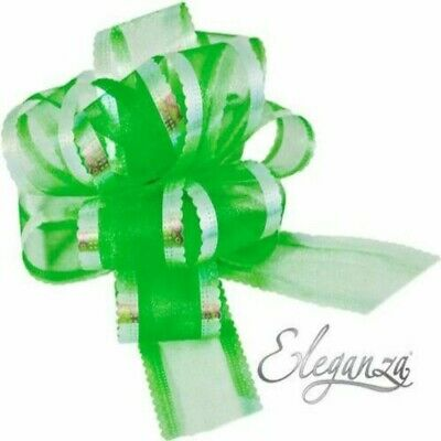 Green Organza 50mm LARGE PULL BOW - Wedding Car Gift Wrap Party Floristry Bow  • 2.29£