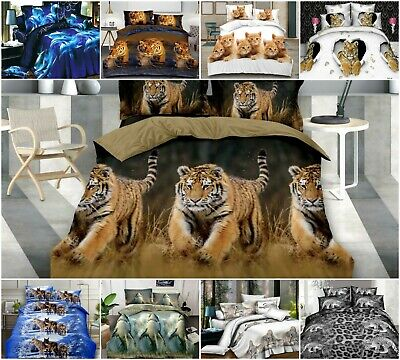 3D Duvet Set With Quilt Cover, Fitted Sheet & Pillow Cases Animal Print Bedding • 21.99£