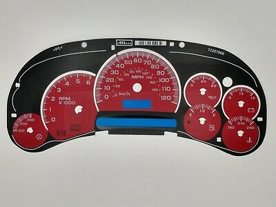 $50 • Buy Red Custom Gauge Face Overlay Inlay 2003 04 05 GM Gas Instrument Clusters New