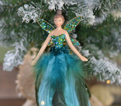 Christmas Tree Fairy Topper Teal Peacock Feather Gisela Graham Angel Decoration • 20.95£