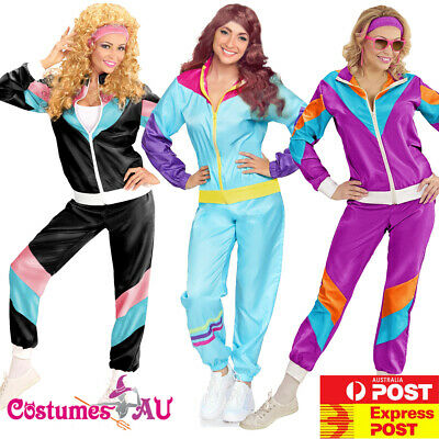 AU34.99 • Buy Ladies 80s Height Of Fashion Tracksuit 1980s Party Retro Disco Neon Costume