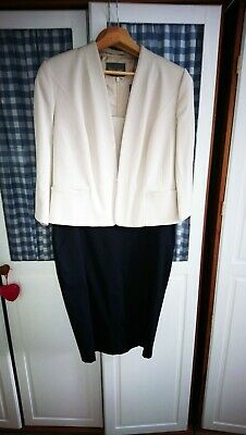 Phase Eight Womans Navy And Cream Dress And Jacket. Size 14/16 Good Condition. • 7.06£