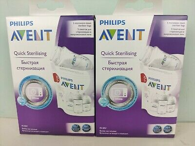 AU21.99 • Buy 2 X Philips AVENT Microwave Steam Quick Sterilising Bags - Pack Of 5 Each