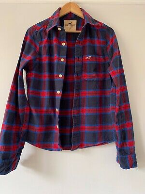 Mens Hollister Checked Blue And Red Shirt Size Small • 0.99£
