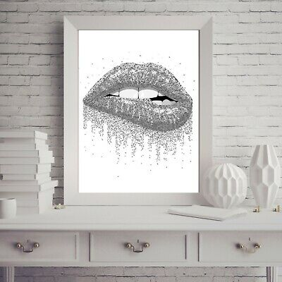 Silver Lips PRINT Picture Glitter Makeup Fashion PICTURE A4 Wall Art Unframed  • 3.99£
