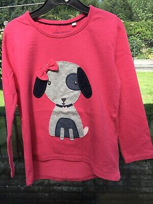Girls Blue Zoo Long Sleeved Pink 'Dog' Top Aged 5-6 Yrs • 0.99£