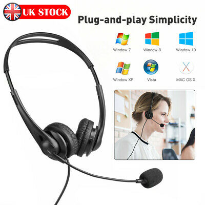 Wired USB Headset Over Ear Headphone With MIC For Computer Call Center PC Laptop • 8.49£