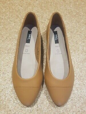 M&S Insolia Wide Fit Tan Leather Ballet Pumps Shoes Flats Comfort - 6.5UK - BNWT • 25£