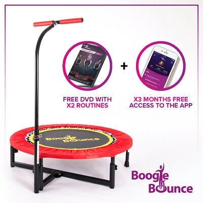 Boogie Bounce Mini Adult Fitness Trampoline + Adjustable T-bar. 25st Max Weight • 139£