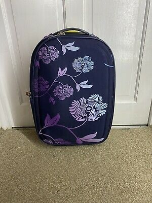 Frenzy Blue And Purple Floral Print Fabric Small Suitcase Hand Luggage Size  • 7.50£