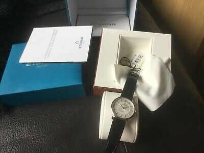 Eterna Artena Lady Quartz Watch, Black Leather Strap, New With Papers.rrp£615. • 349£