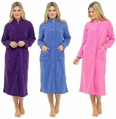 AU39.13 • Buy Ladies Button Through Fleece Dressing Gown Robe Housecoat Size 10-28
