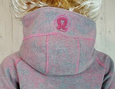 $ CDN49 • Buy Lululemon Scuba Hoodie Size 6 Gray Pink Floral Grey Sweater Jacket EUC
