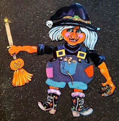 $ CDN25 • Buy Vintage Die Cut WITCH With Broom Halloween Decoration 34''