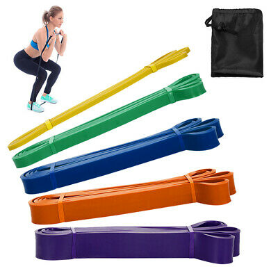 AU23.27 • Buy Pack Of 5 Resistance Loop Bands Set Latex Yoga Strength Pull Up Assist O3Q6