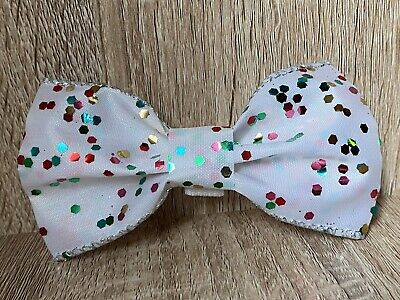 Christmas Pet Bow Tie Handmade Dog/Cat/Puppy/Kitten White And Multi-Colour • 2.50£