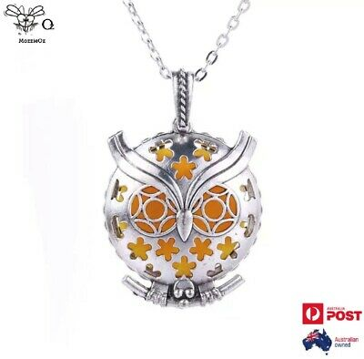 AU15 • Buy Necklace Vintage Owl Locket Aromatherapy Essential Oils Diffuser + 2 Pads