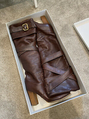 Chloe Paddington Prince Boots Brown Leather Knee Height Ladies Size 37.5 Vintage • 95£