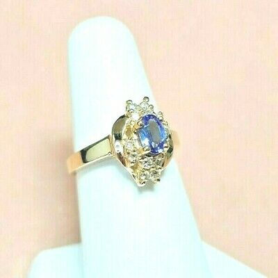£217.30 • Buy Tanzanite Ring With Diamonds 14k SOLID GOLD Finger Size 6.75