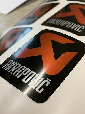 Akrapovic Silver Vinyl Sticker Decal Motorcycle Exhaust X2 • 3£