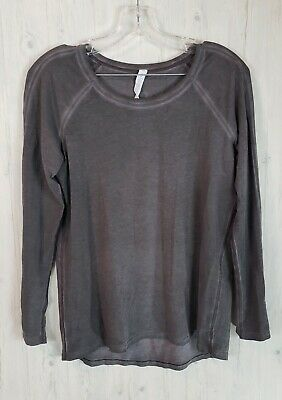 $ CDN49 • Buy Lululemon Emerald Long Sleeve Size 6 Wash Fade Black Pima Cotton Crew EUC