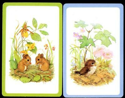 AU3 • Buy Vintage Swap Cards Bird And Mice In The Field New Condition