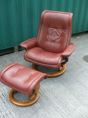 Large Ekornes Stressless Leather Recliner Chair With Stool, Taunton Area • 185£