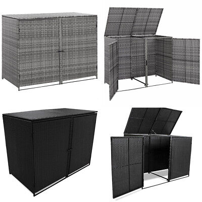 Garden Double Wheelie Bin Shed PE Rattan Rubbish Dust Storage Shed Box Lockable • 189.68£
