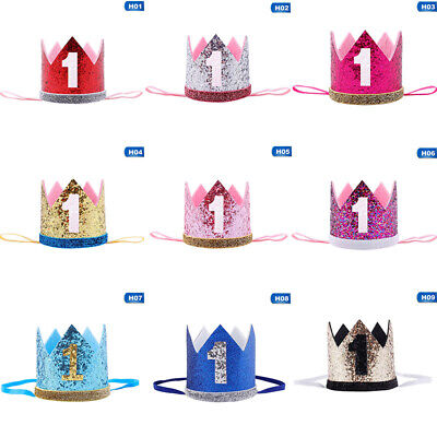 Baby Girl Boy Birthday Hat 1st Princess Crown Hair Accessories Party Top • 2.68£