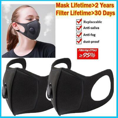 $ CDN11.99 • Buy 2 PACK Face Mask Reusable Washable Covering Air Filter Valve Adult Unisex Black