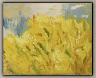 Richter StyLe Abstract Large Oil Painting On Deep Canvas 76cm X 62cm Mimosa Tree • 220£