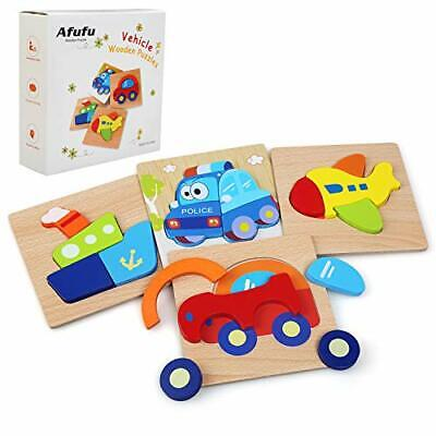 Afufu Wooden Toys - 4 Pack Jigsaw Puzzles For Toddlers 1 2 3 Years Old, Boys • 17.46£