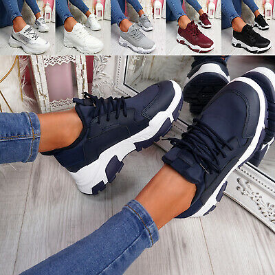 $ CDN29.79 • Buy Womens Ladies Sport Chunky Trainers Lace Up Party Women Shoes Size Uk