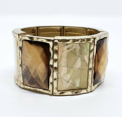 $ CDN1.39 • Buy Lovely Signed Lia Sophia Faceted Amber Acrylic & Faux Shell Stretch Bracelet
