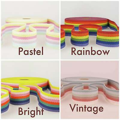 Striped Rainbow Webbing, Belt, Bag Strapping 40 Mm. Heavyweight. By The Metre. • 2.80£