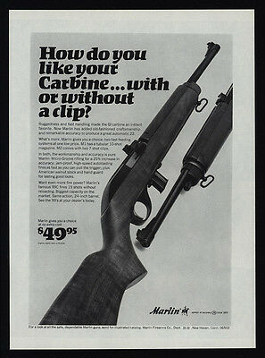 $12.99 • Buy 1967 MARLIN M1 M2 & 99C Carbine .22 Rifle Gun - With Or Without Clip VINTAGE AD