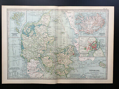 Antique Map Of Denmark & Iceland 1903 • 18£