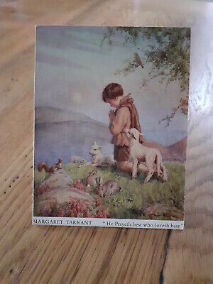 Vintage Margaret Tarrant Card He Prayeth Best Who Loveth Best • 9£