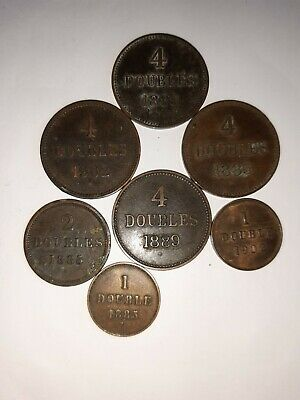 Collection Of 7 Guernsey Doubles Coins Dating From 1885 To 1902, 4, 2 And 1 • 2.99£